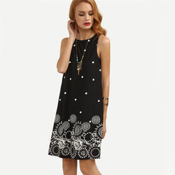 Women Fashion Sling Sexy Sleeveless Print Outwear O-neck Black Party Dress