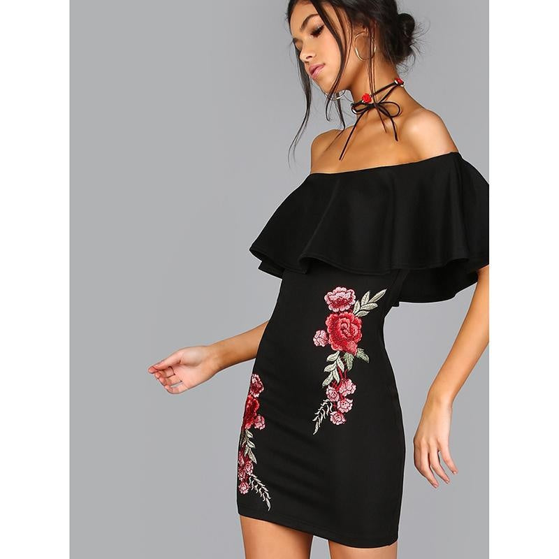 Women Summer Dress Black Sexy Off Shoulder Embroidered Rose Applique Ruffle Dress