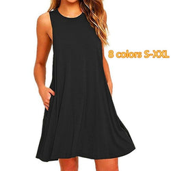 Women's Sleeveless Pockets Casual Swing T-Shirt Dresses