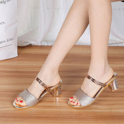 New Arrival Womens High Heels Sandals Womens Mules Slippers Sexy Shoes