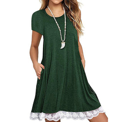 Women O Neck Casual Lace Short Sleeve Above Knee Dress Loose Party Dress