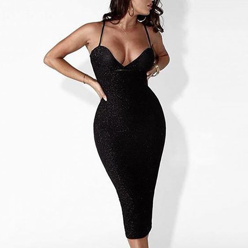 Women Elegant Sleeveless Spaghetti Strap V Neck Bodycon Midi Dress Sexy Solid Plus Size Club Dress Backless Dress White Black Red Pink Grey