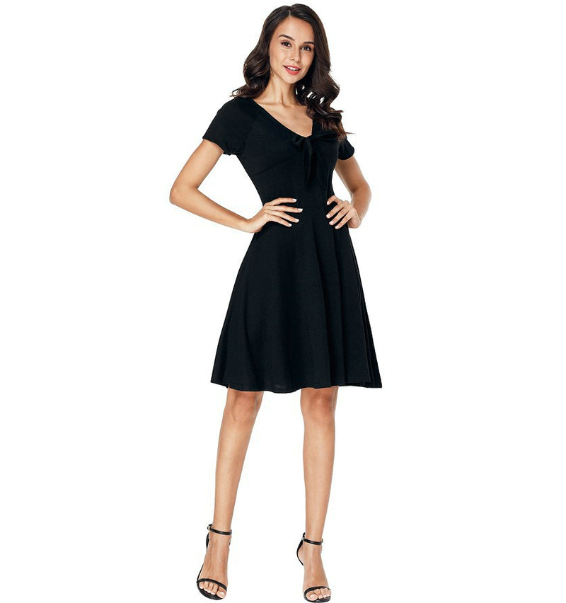 Classic Casual Women's Dress V Neck Knee Length Black Elegant Tunic Dress - WENDIZ