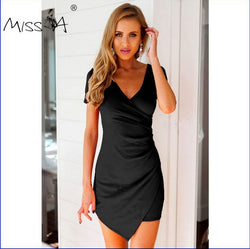 2 Color Women's Fashion Solid Color V Neck Mini Dress Evening Party Bodycon - WENDIZ