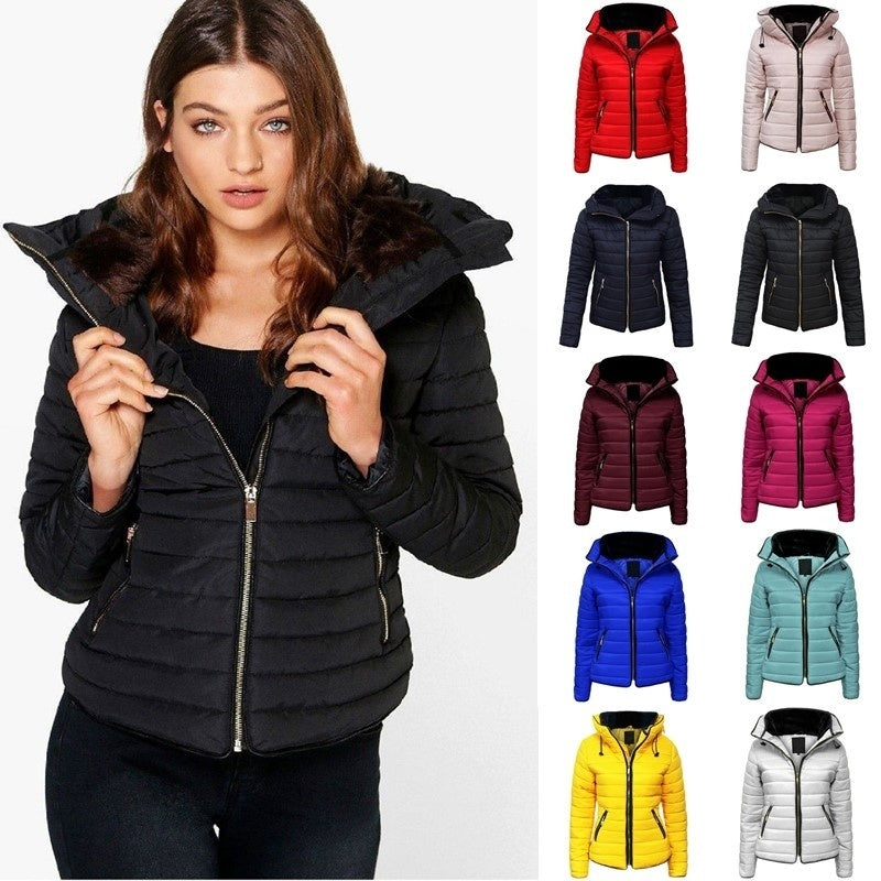 wish | New Ladies Quilted Padded Puffer Bubble Fur Collar Warm Thick Womens Jacket Coat