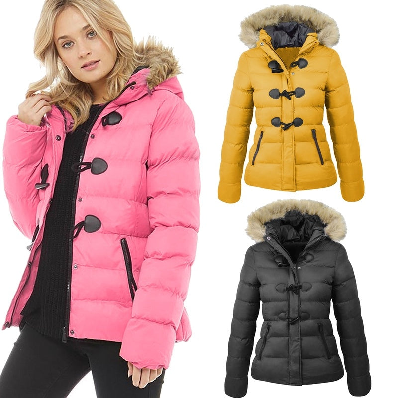 wish | Plus Size Women Winter Warm Puffer Quilted Jacket Hip Length Thick Coat