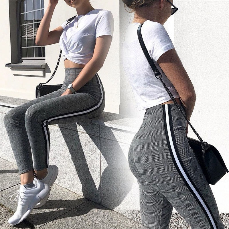 wish | Casual Slim Skinny Straight Pants High Wiast Lace Up Bodysuit Women Pencil Trouser Houndstooth Pattern Casual Pants