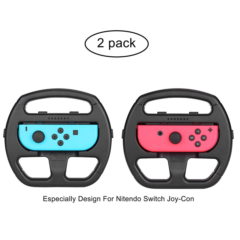 Steering Wheel pour Nintendo Switch, Volant de pilotage Joy-con pour Nintendo Switch (Pack de 2, Noir)