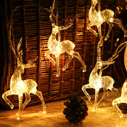 New Deer LED String Light 10LED 20LED Battery Operated Reindeer Indoor Decoration for Home Holiday Festivals Outdoor Xmas MJ928