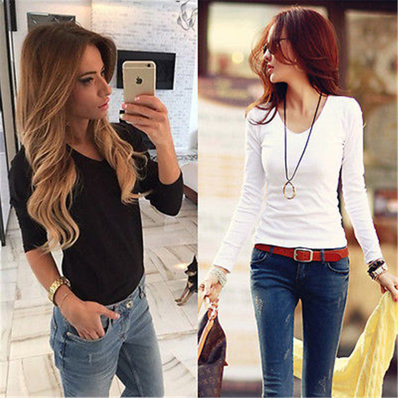 Spring Autumn Woman Sweatshirts Cotton Sexy Women Ladies Casual Loose V Neck Pullover Long Sleeve Top Tee Shirt UK 8-16