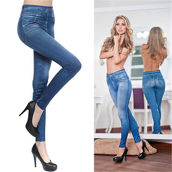 Jean skin jeggings stretch slim crayon en coton