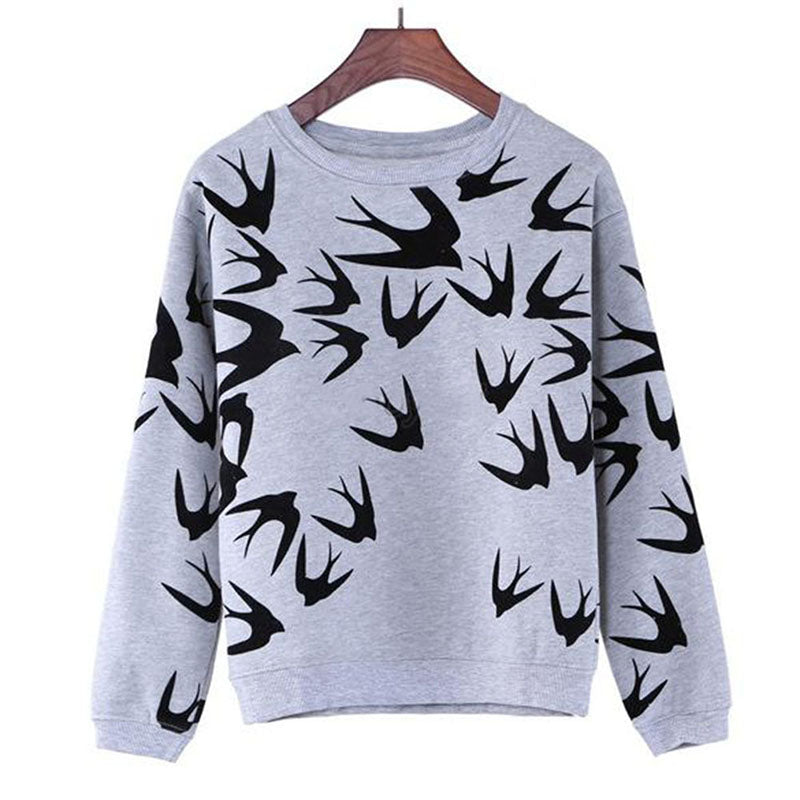 New Fashion Women Swallow Printing Long Sleeve  Sweatshirt Pullover TopsZH