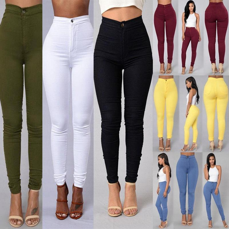 Women's thin section high waist stretch pencil pants - tight candy color jeans - explosions leggings -6 color 6 yard