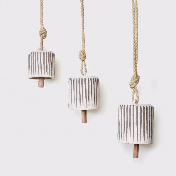 MQuan wide thrown bell with muted grey stripes from Jenni Kayne and The Moment