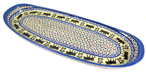 12150-2003 long oval serving tray moose pattern top view