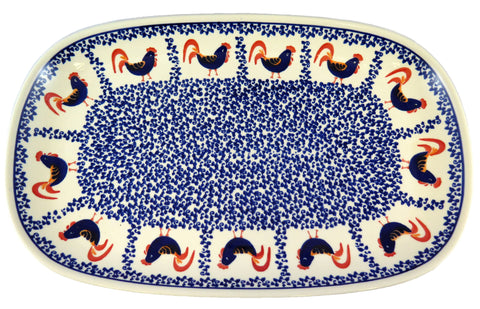 1456-1090 large rectangular platter rooster pattern top view