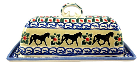 18180-3007 butter dish with horses side view