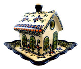 "Tealight House with Matching Plate; 5.5"" x 5.5"" x 5"""