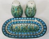 "Salt & Pepper Shakers with Tray; 6.75"" x 3.75"" x 3.5"" Unikat"