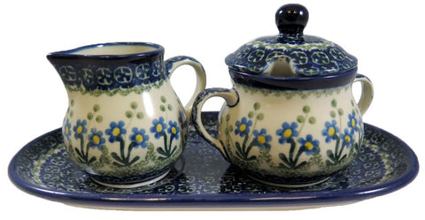 "Cream & Sugar Set with Tray; 4"" x 5"" x 9.5"""