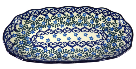 "Scalloped Oval Tray; 12.5"" x 6.5"" x 4.5"""