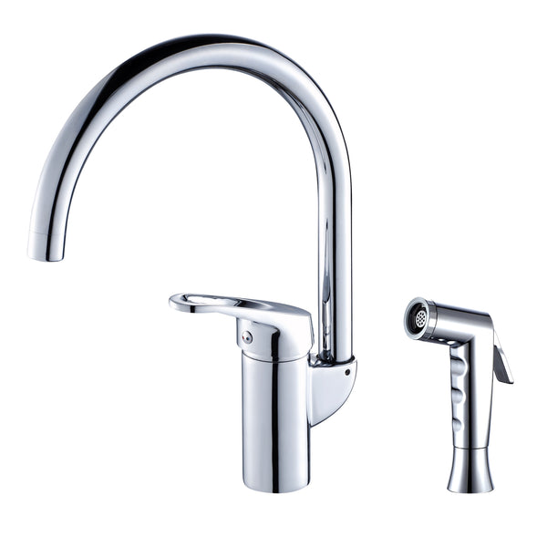 Grana Dish Genie Agrion kitchen faucet in chrome finishing. Dish Genie side sprayer features interchangeable attachments that help you clean dishes that are otherwise cumbersome to wash.
