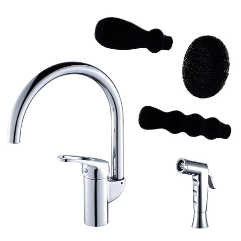 Grana Dish Genie Agrion kitchen faucet in chrome finishing with three different included dish sponge attachments