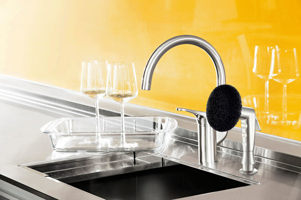 Clean wine glasses and oven dishes with the convenient side sprayer attachments