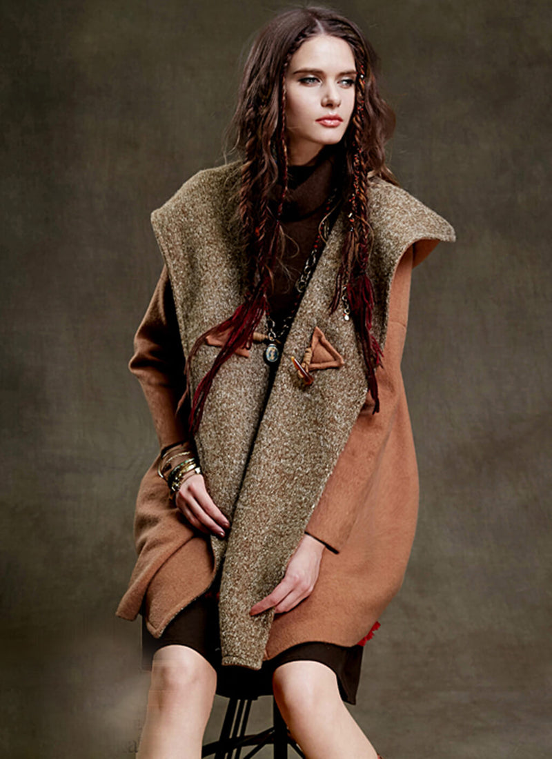 Hooded Knit Wool Blend Coat | bitpix.io