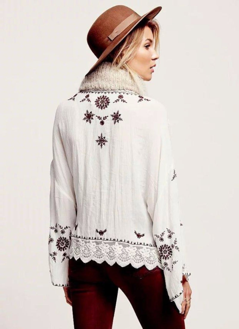 Embroidered Flare Cardigan | bitpix.io