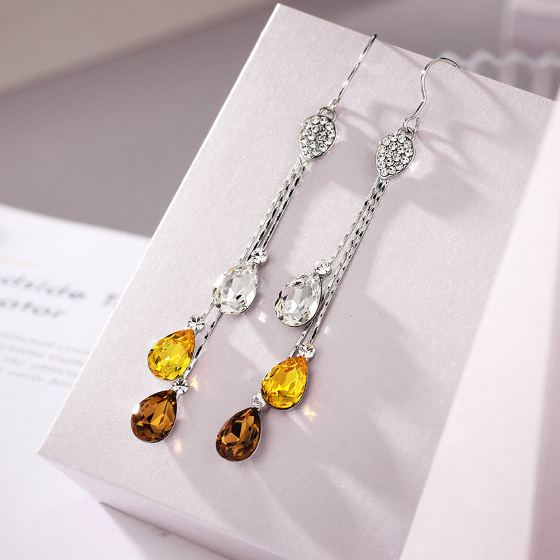 Crystal Rhinestone Water Drop Earrings | bitpix.io