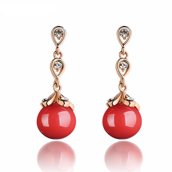 Zirconia Crystal Red Drop Earrings | bitpix.io