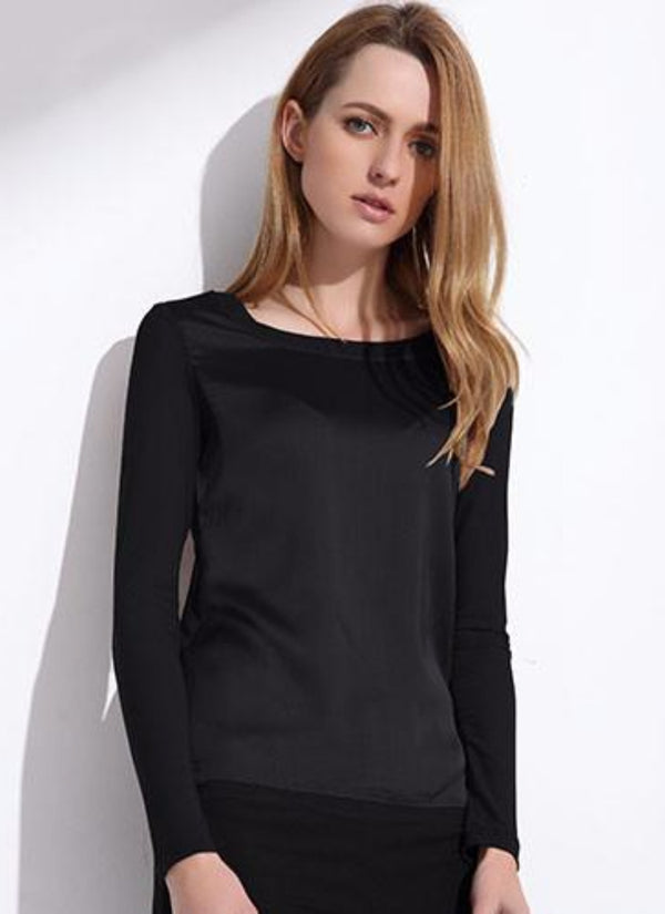 Long Sleeve Silk Top | bitpix.io