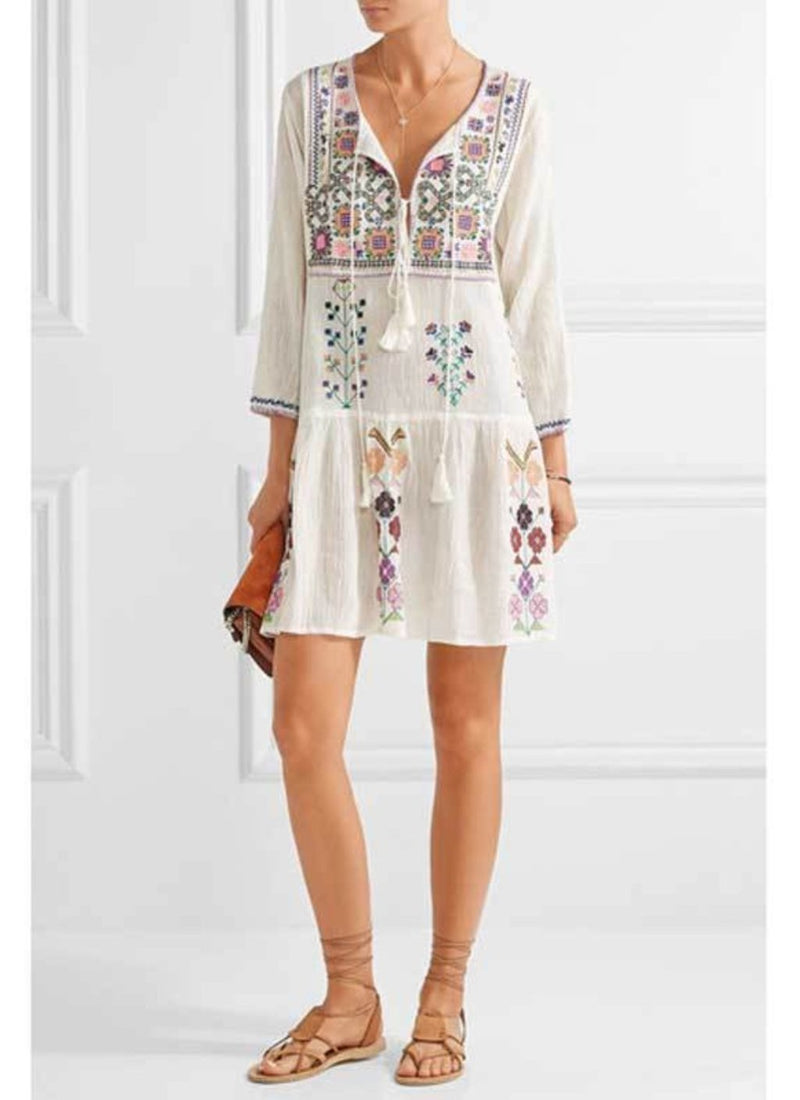 Cotton Embroidered Bohemian Dress | bitpix.io