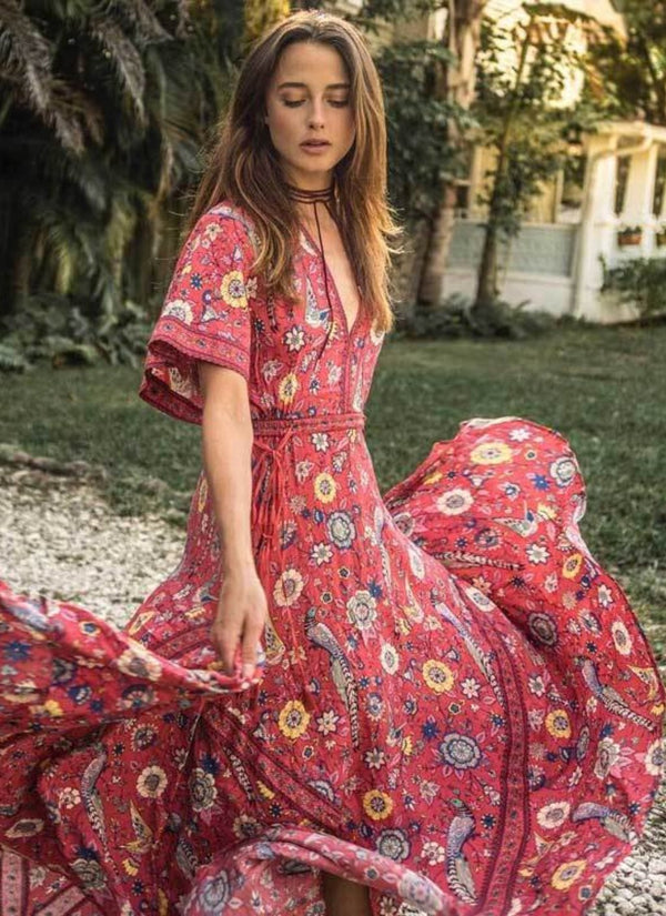 Rose Floral Maxi Dress | bitpix.io