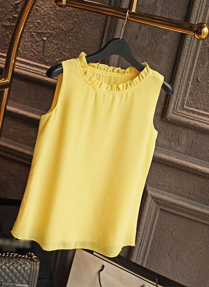 Ruffled Neck Sleeveless Blouse | bitpix.io