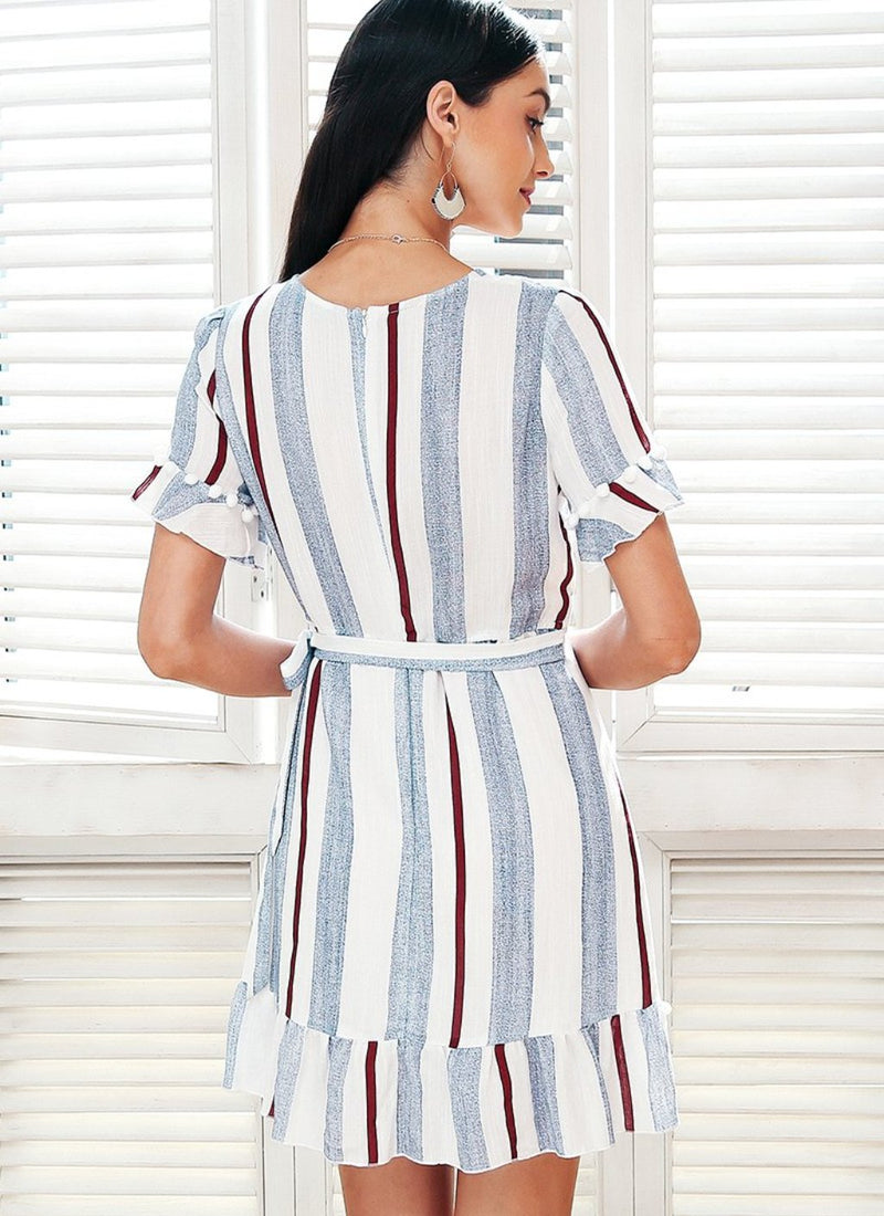 Ruffle Faux Wrap Striped Dress | bitpix.io