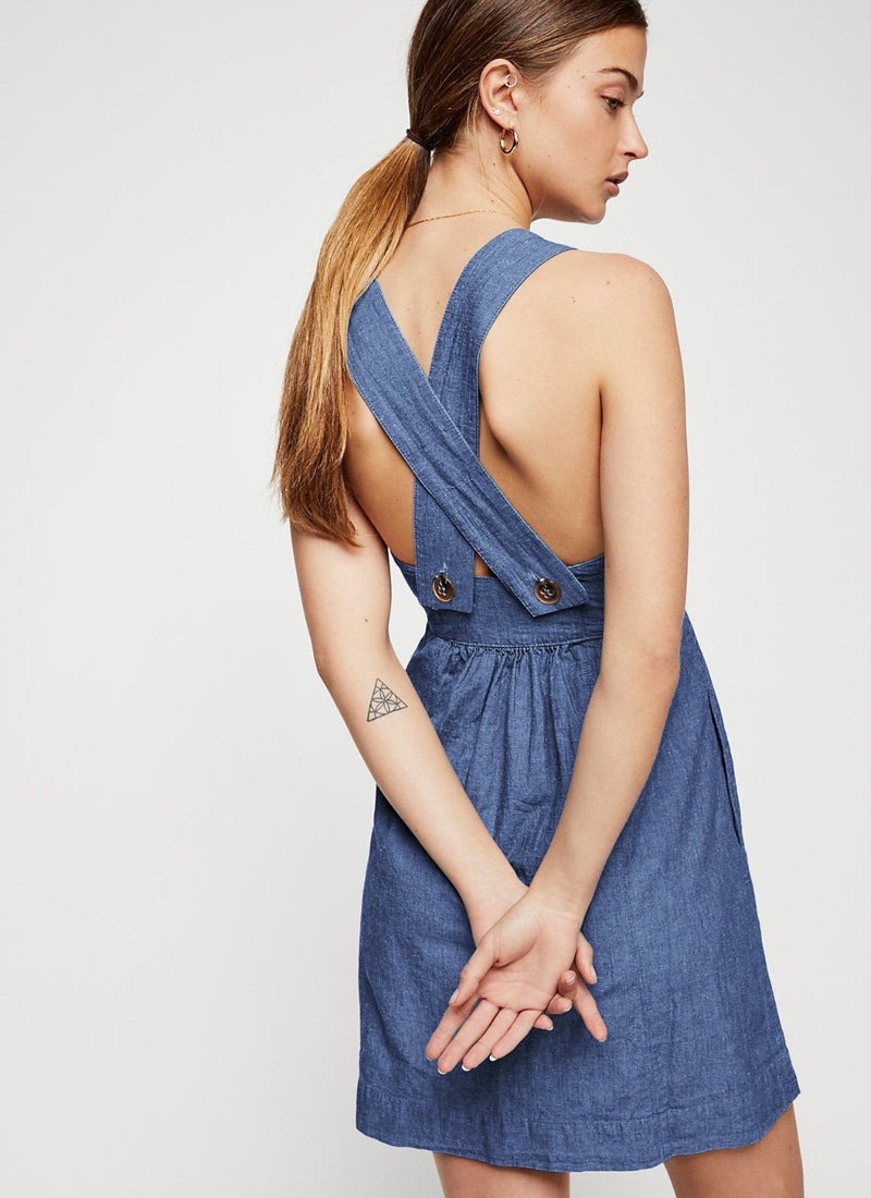 Cross Back Buttoned Dress | bitpix.io