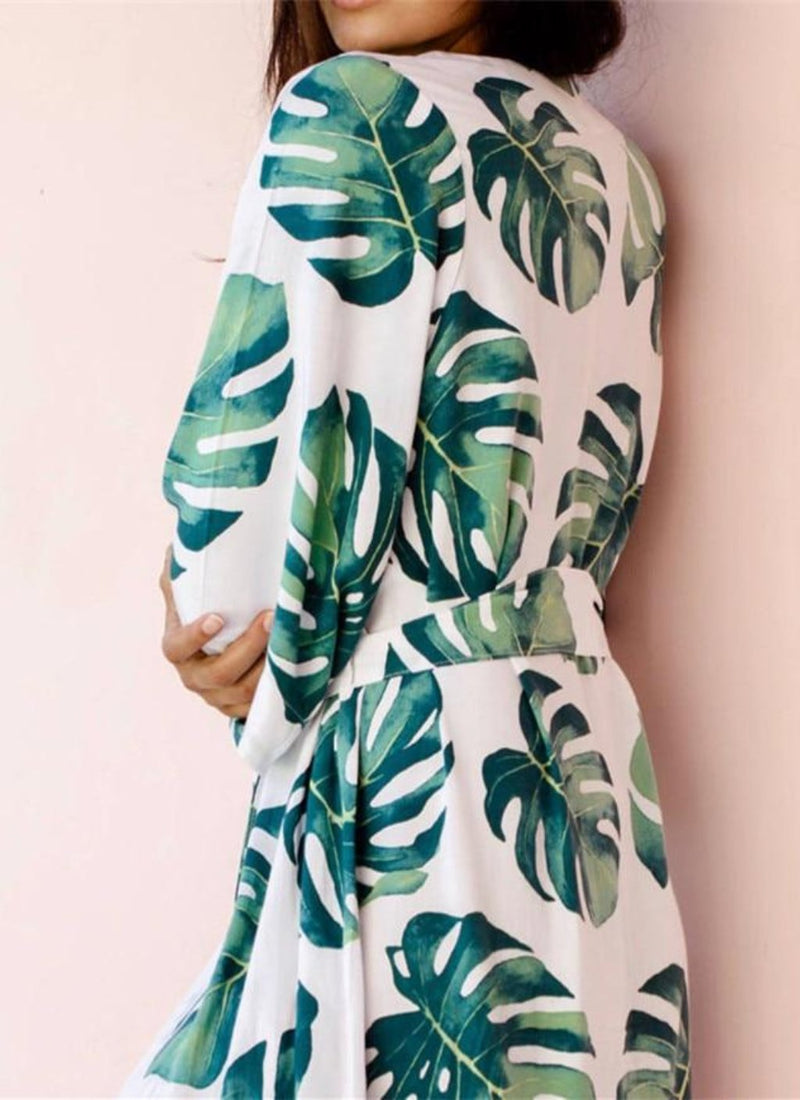 Tropical Leaves Cover-up Caftan | bitpix.io