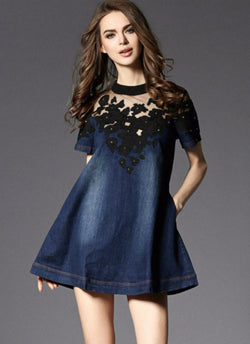 Denim Girl Embroidery Dress | bitpix.io