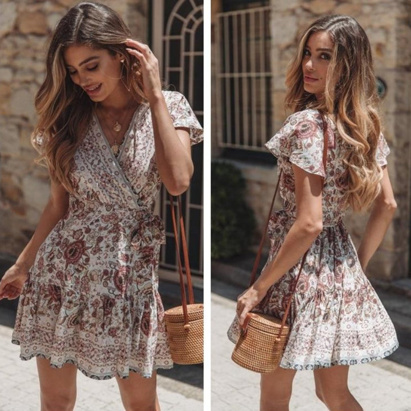 Floral Wrap Boho Dress | bitpix.io