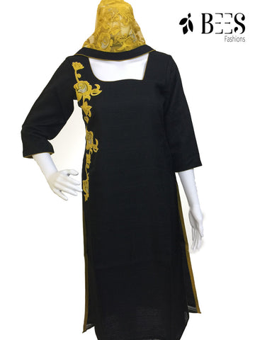 Black and Yellow Churidar Set