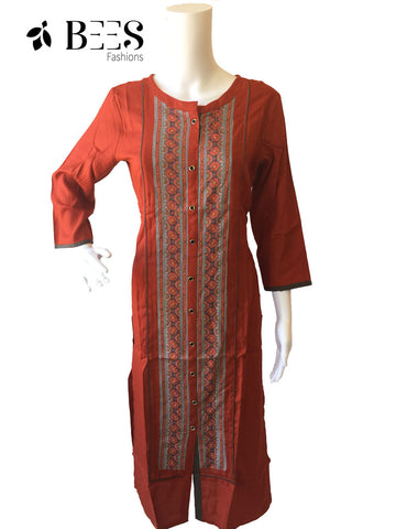 Scarlet Red Cotton Kurti