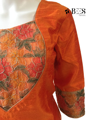 Fire Orange Raw Silk Kurti