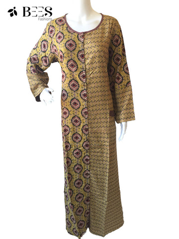 Tortilla Brown Floor Length Cotton Kurti