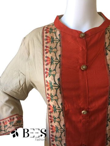 Tan and Brick Red Cotton Kurti