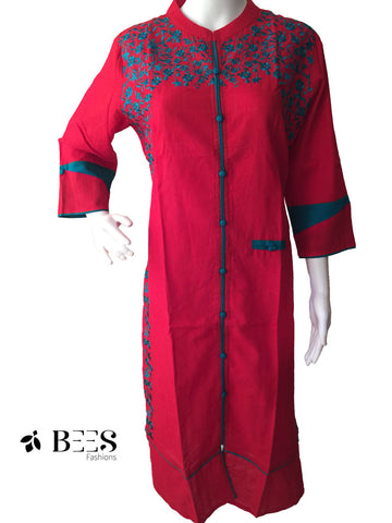 Candy Red and Blue Cotton Kurti