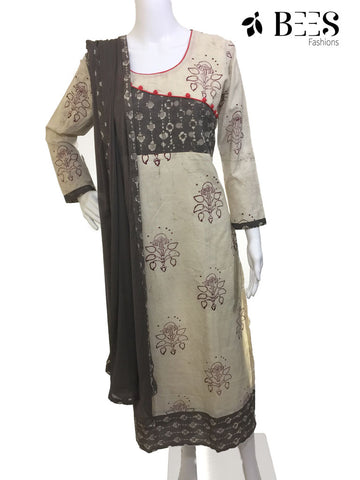 Cream and Ash Cotton Churidar Set