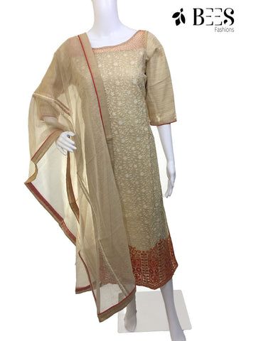 Biscuit Cream Cotton Kurti