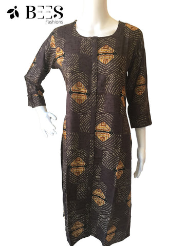 Wood Brown Cotton Kurti